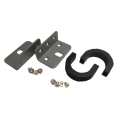 1U rack mounting ears kit with screws, one pair for left and right each, black.