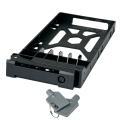 "2.5"" HDD Tray with key lock and two keys, black and plastic"